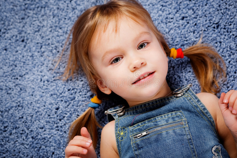 Download Cute kid girl stock photo. Image of child, blue, looking - 7387812