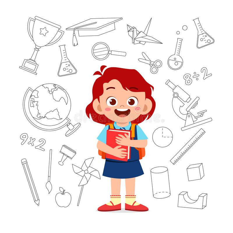 Free Cute Kid Girl Back To School Card Stock Photography - 172532812