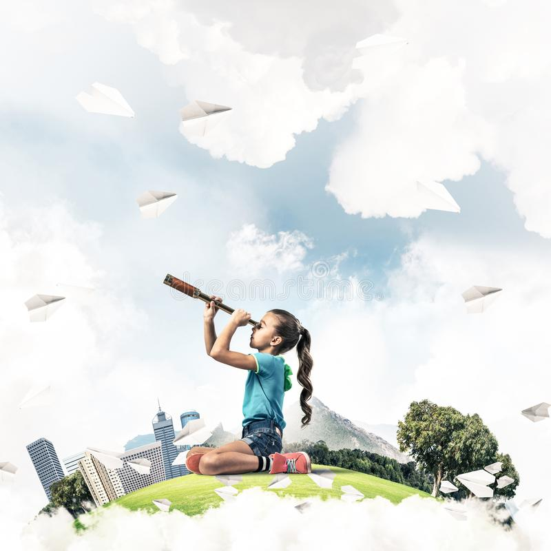 Download Concept Of Careless Happy Childhood With Girl Looking In Future Stock Image - Image of explorer, education: 118079691