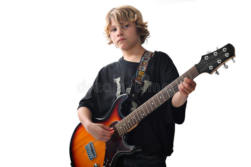 Cute kid with guitar upclose royalty free stock photo