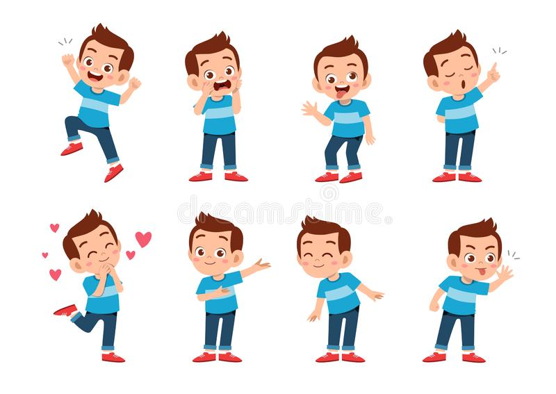 2019-09-23-kids-21. Cute kid with many gesture expression set, angry, avatar, background, bundle, cartoon, character, child, clipart, comic, cry, emoji, emoticon royalty free illustration