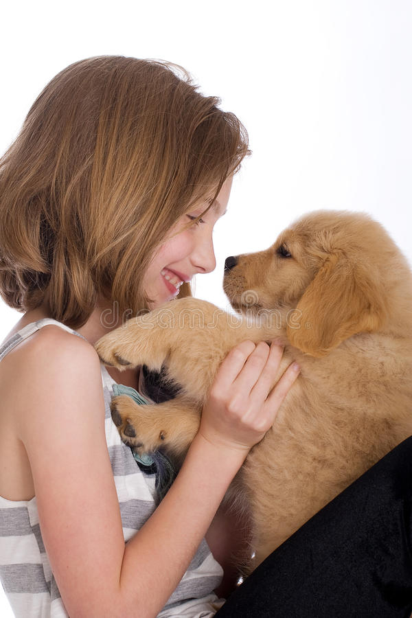 Download Cute kid with a puppy stock photo. Image of puppy, cute - 19982822