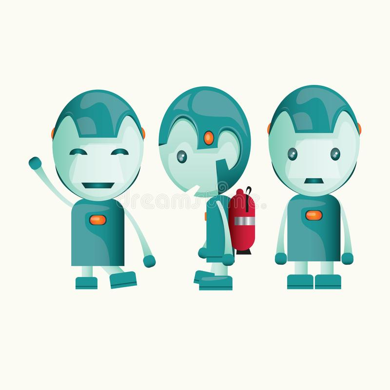 Cute Kid Robot. Illustration, green robot with some expression stock illustration