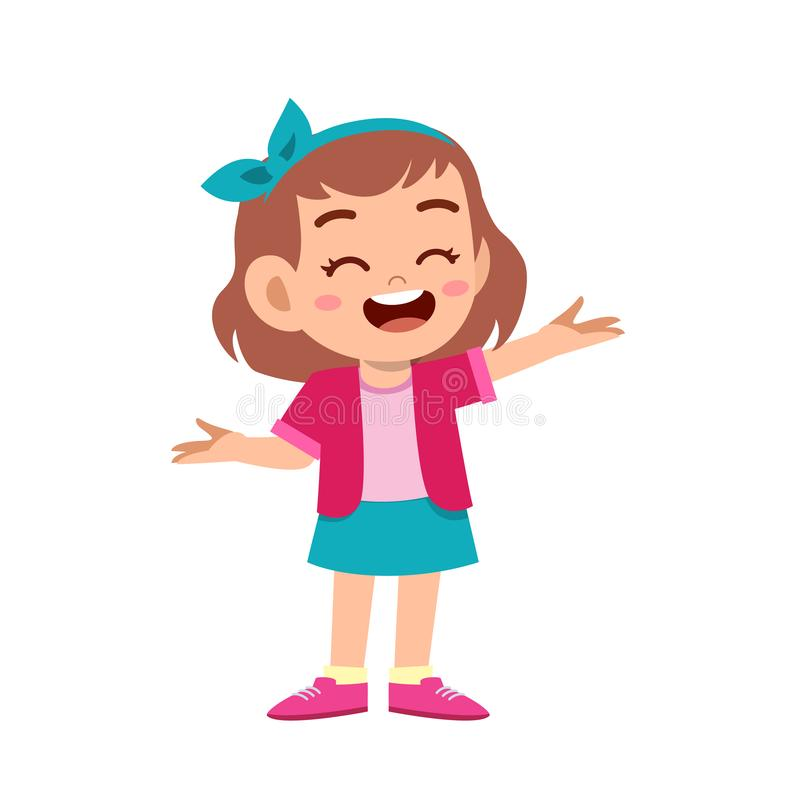 Cute kid teen girl show facial expression. Design, concept, welcome, welcoming, polite, background, demonstrating, kinder, showing, presenting, culture, smile royalty free illustration