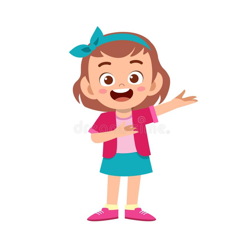 Cute kid teen girl show facial expression. Design, concept, welcome, welcoming, polite, background, demonstrating, kinder, showing, presenting, culture, smile vector illustration