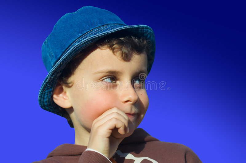 Download Cute kid thinking stock photo. Image of doubt, childhood - 4845556