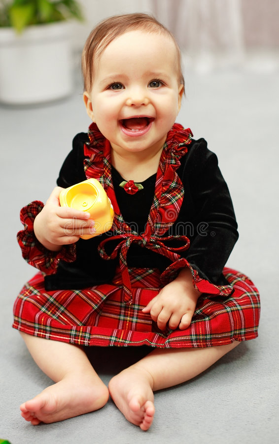 Cute kid with toy royalty free stock images