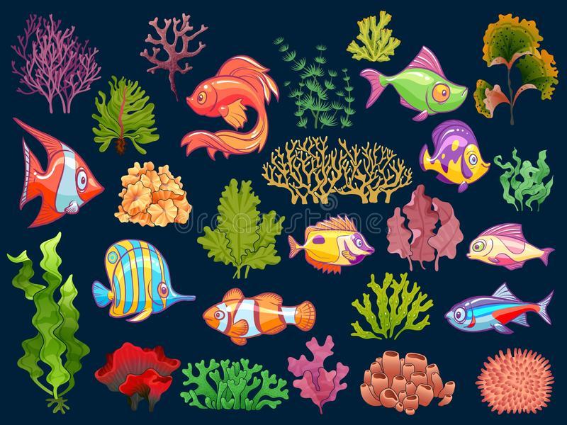 Cute kid underwater set. Aquarium baby fish and seaweed in water for children isolated vector collection. On dark background stock illustration