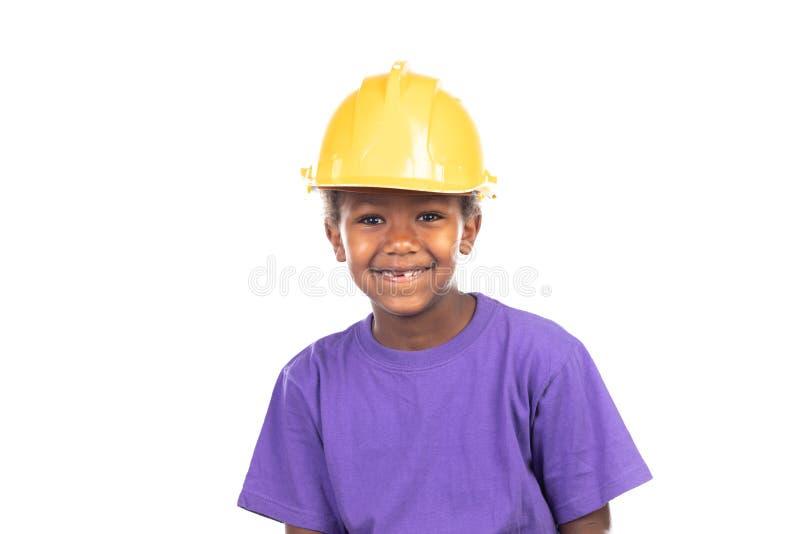 Cute kid with yellow helmet stock photos