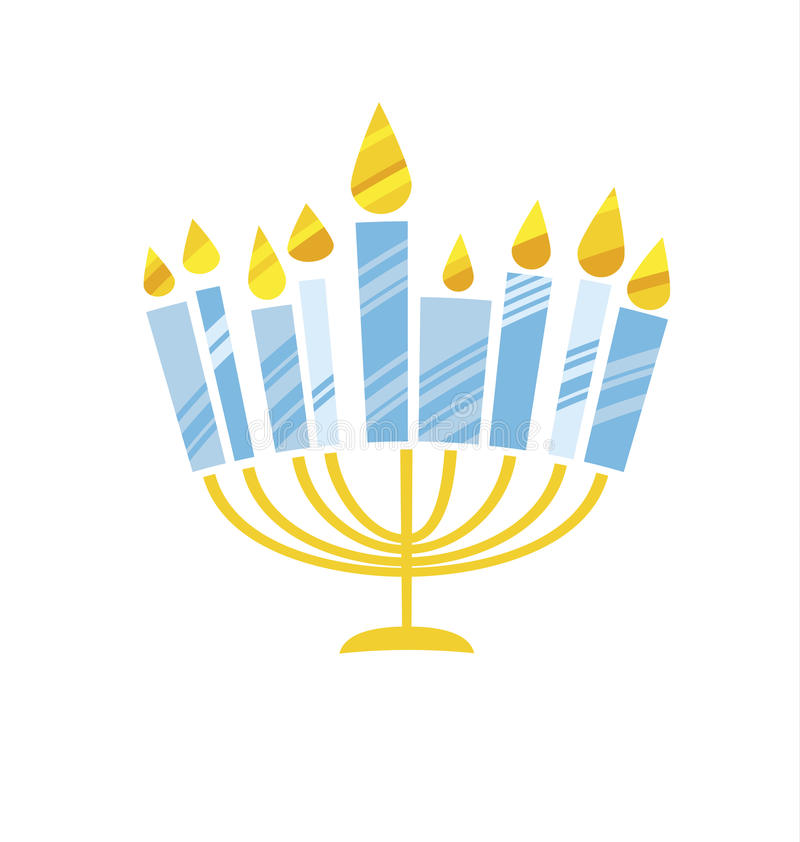 Cute kiddy style hanukkah menora vector illustration. Juish menora simple vector icon. hanuka candles symbol royalty free illustration