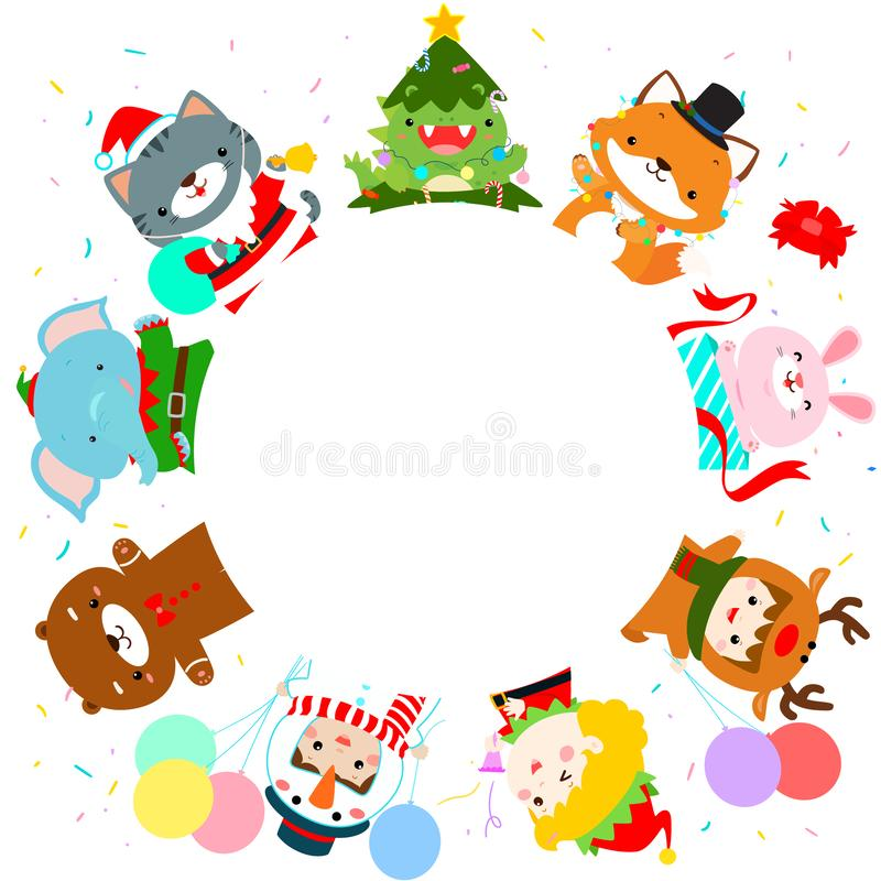 Cute kids and animal in Christmas costumes background vector. Ready for your text vector illustration