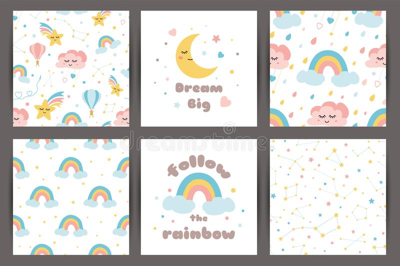 Cute kids backgroung set in cartoon style Dream big Rainbos smiling clouds stars pattern Cards quote vector stock illustration