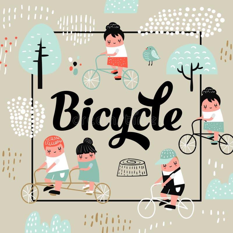 Cute Kids on Bicycle Design. Childish Background royalty free illustration