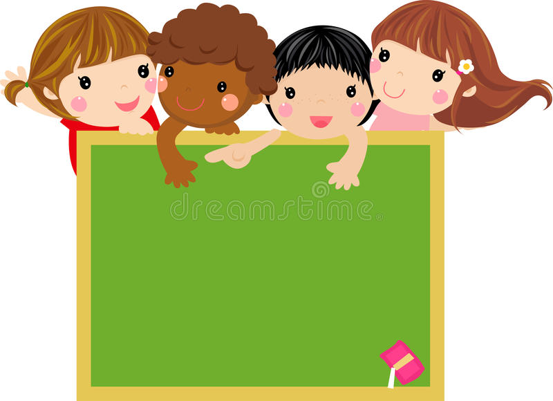 Cute Kids With Blackboard Royalty Free Stock Image