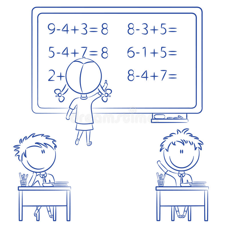 Cute kids in the classroom stock illustration