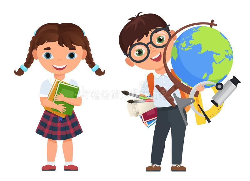 Cute kids couple with school supplies. School boy and girls childs with books and other school supplies. Back to school royalty free illustration