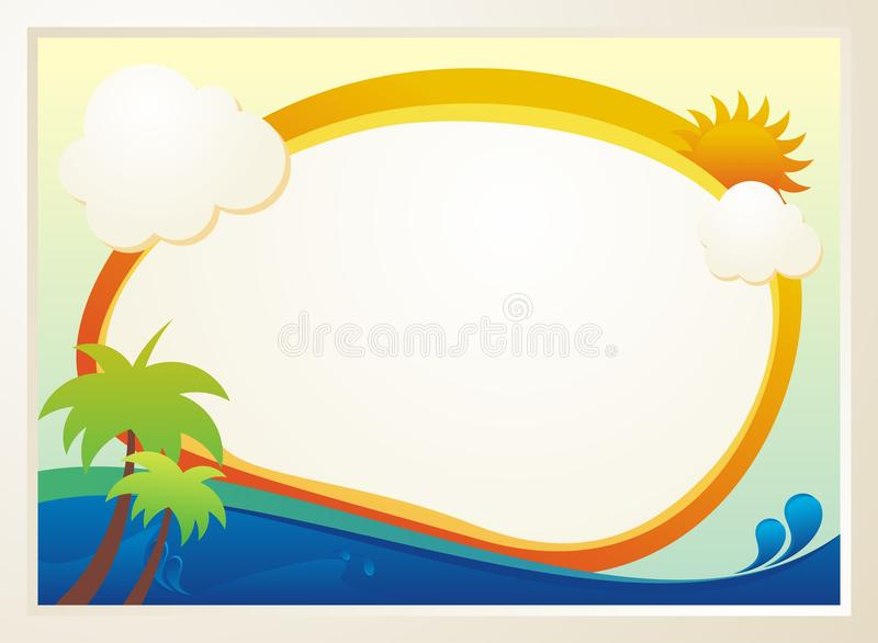 Cute Kids Diploma template design. With daylight and sea illustration and blank area for text. Simple, colorful, adorable, lovely and cute design for kids vector illustration