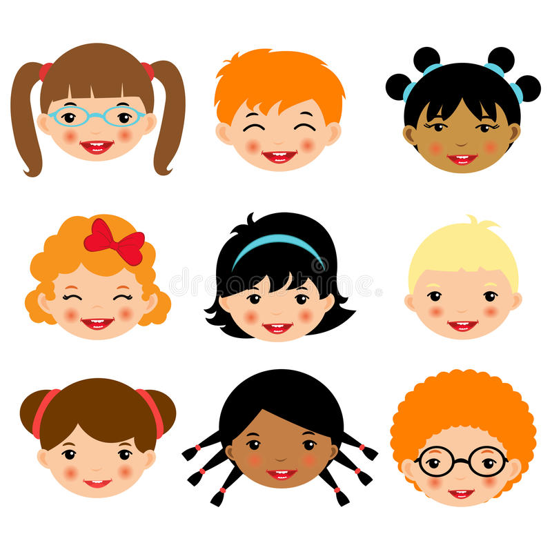 cute kids faces collection stock vector illustration of childish rh dreamstime com