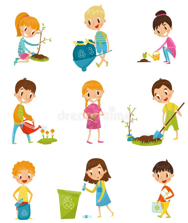 Cute kids gardening and picking up garbage set, boys and girls planted and watering young trees vector Illustrations on stock illustration