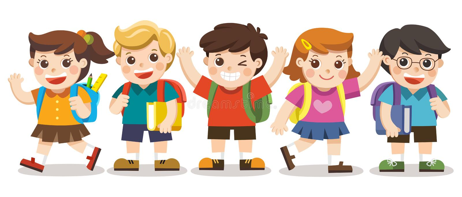 Cute kids go to school. royalty free illustration