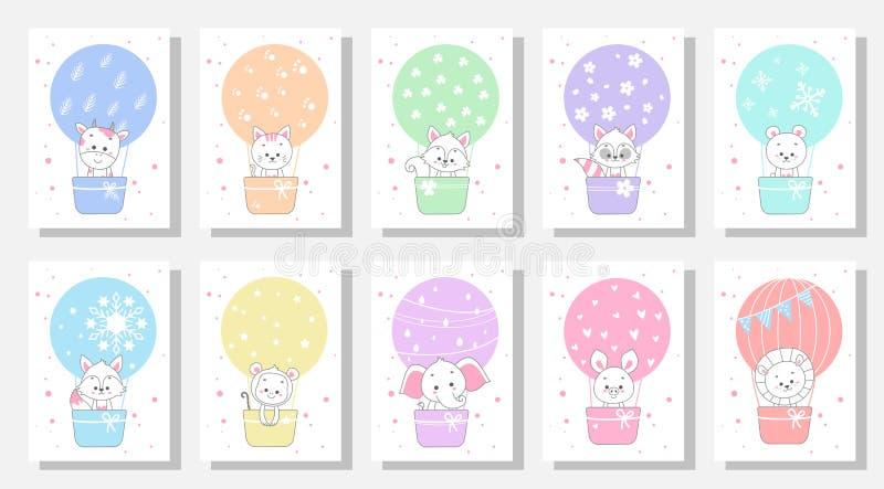 cute kids greeting card  set bundle royalty free illustration