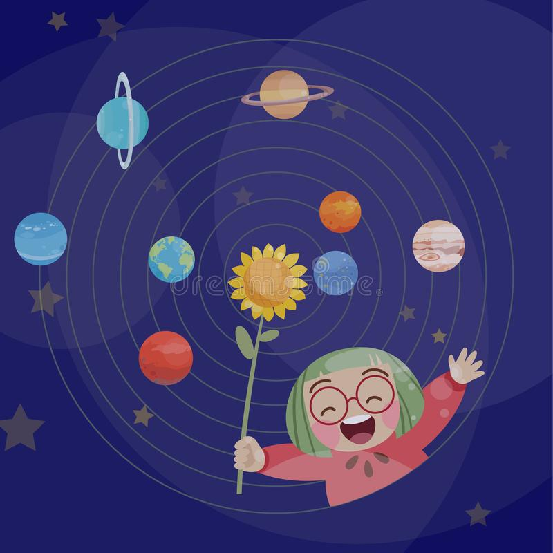 Cute happy kid play with planets vector illustration fantasy. Cute kids happy vector illustration, planet, circle, space, sky, colorful, imagination, fantasy vector illustration