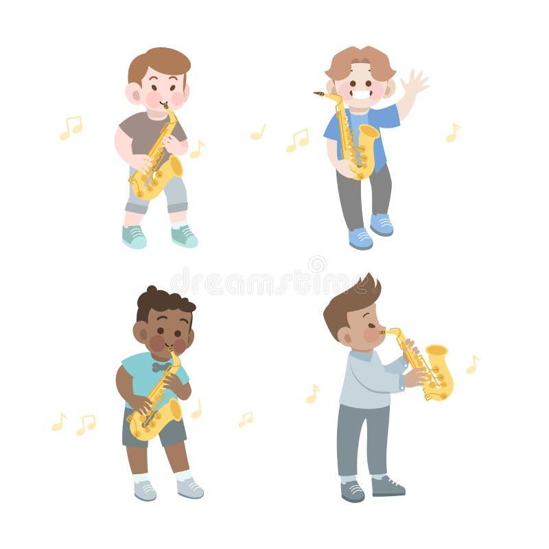 Happy cute kid play music saxophone vector illustration set. Cute kids happy vector illustration, talent, art, imagination, activities, saxophone, education vector illustration