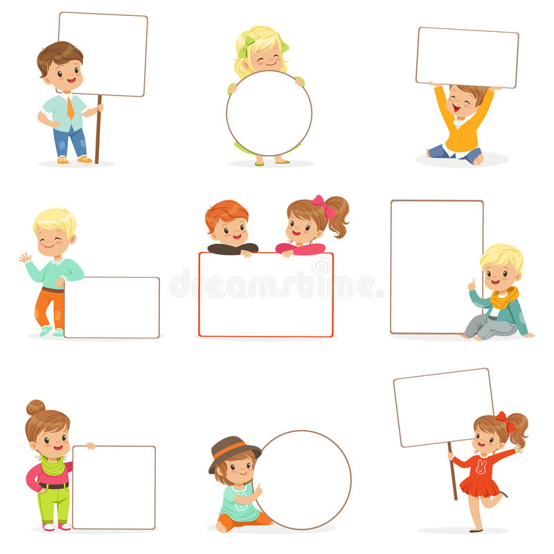 Cute kids holding white blank boards in different poses set. Smiling little boys and girls in casual clothes with empty stock illustration