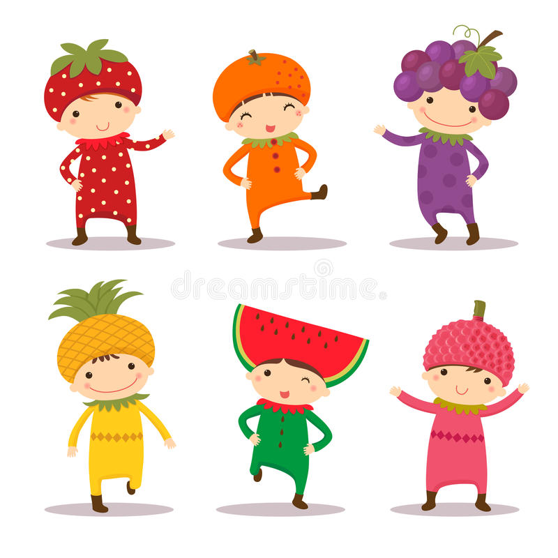 Free Cute Kids In Strawberry, Orange, Grape, Pine Apple, Watermelon A Royalty Free Stock Photography - 56120687