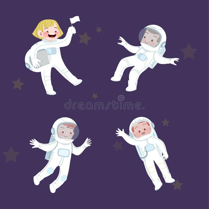 cute kids job astronaut and hobby collection stock illustration