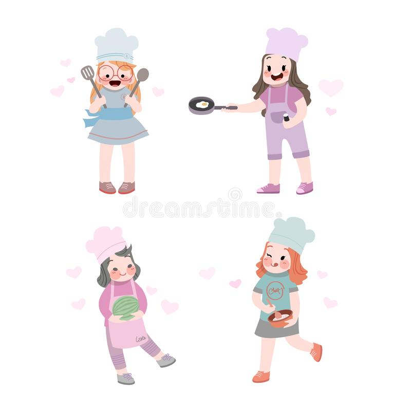 cute kids job and hobby cooking with pan and spatula collection royalty free illustration