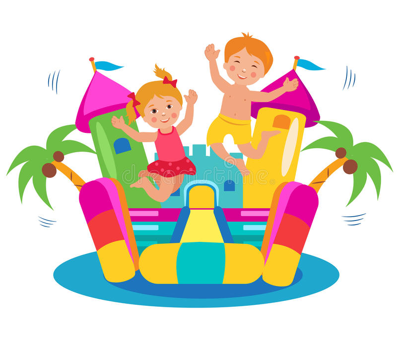 Cute Kids Jumping On A Bouncy Castle Set. Cartoon Illustrations On A White Background. Bouncy Castle Rental. Bouncy Castle For Sale. Bouncy Castle Commercial royalty free illustration