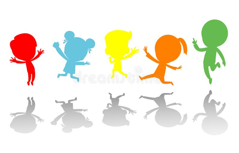 Cute kids jumping colorful ,Child silhouettes dancing, children silhouettes jumping on white background Vector illustration. vector illustration