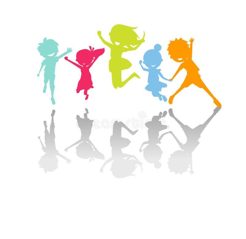 Cute kids jumping vector illustration