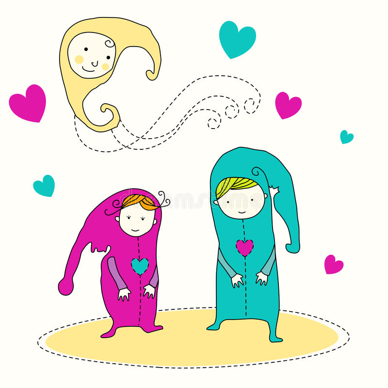 Download Cute kids in love stock vector. Image of event, girl - 18613895