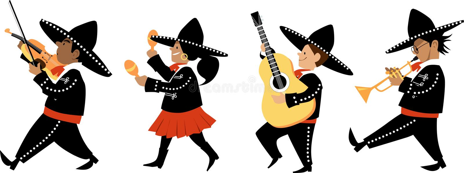 Mariachi band. Cute kids in mariachi outfits playing traditional instruments, EPS 8 vector illustration vector illustration