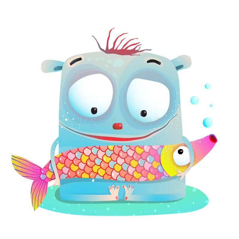 Cute Kids Monster Holding Fish vector illustration