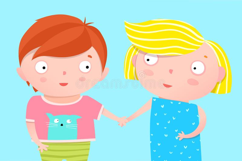 Cute Kids Nursery Poster Design Brother and Sister Holding Hands. Colorful childish character boy and girl cropped poster or post card design for children and stock illustration