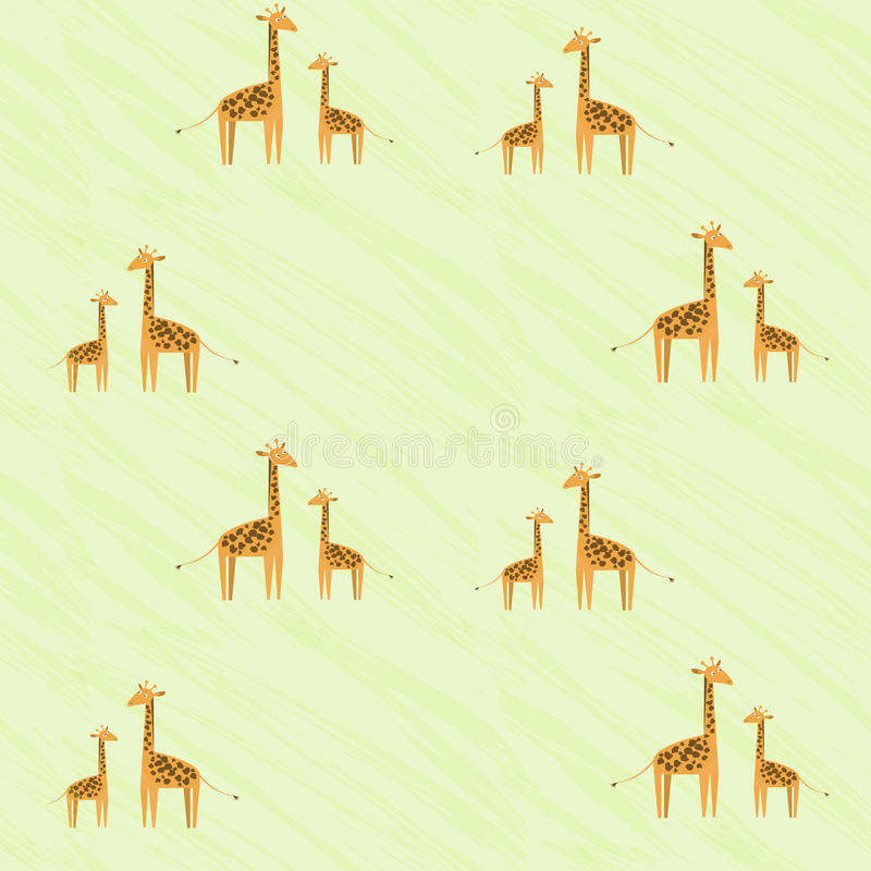 Cute kids pattern with giraffe family. Baby giraffe and his mother looking at each other. vector illustration