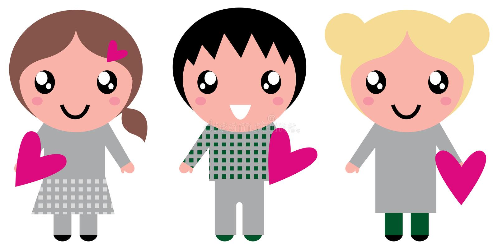 Cute Kids with pink Hearts. Little adorable Kids holding love Hearts. Vector stock illustration