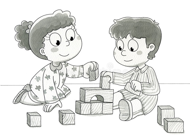 Download Cute kids playing - bw stock illustration. Illustration of illustrations - 3406798