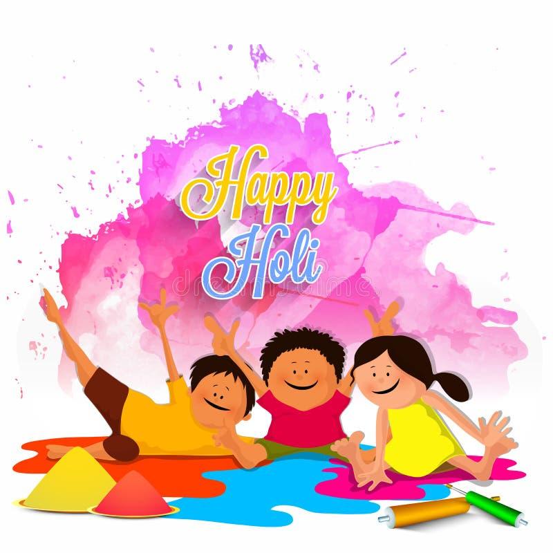 Cute kids playing Happy Holi. vector illustration