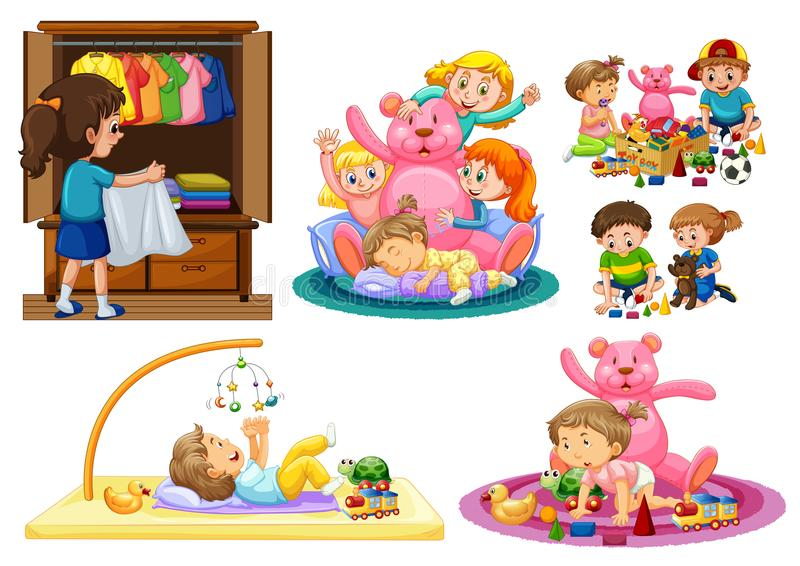Cute Kids Playing at House vector illustration