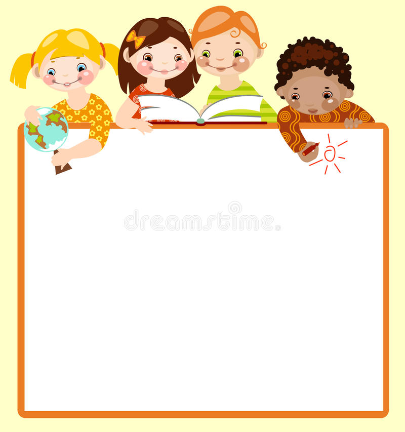 Cute kids read and draw. vector illustration