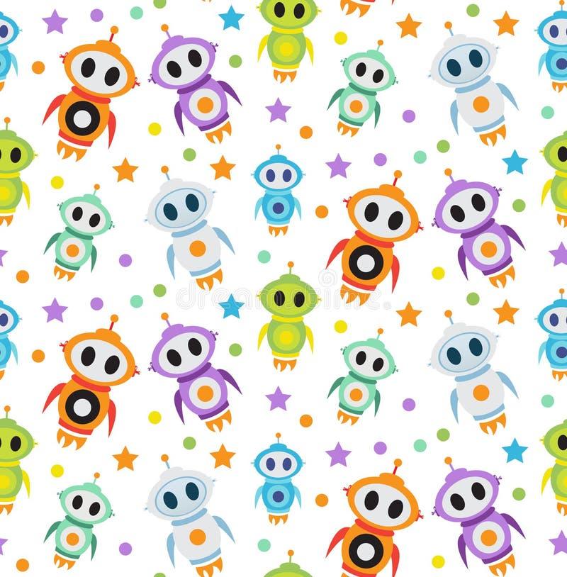 Download Cute Kids Seamless Pattern Robot Rocket Children Endless Background Texture Wallpaper