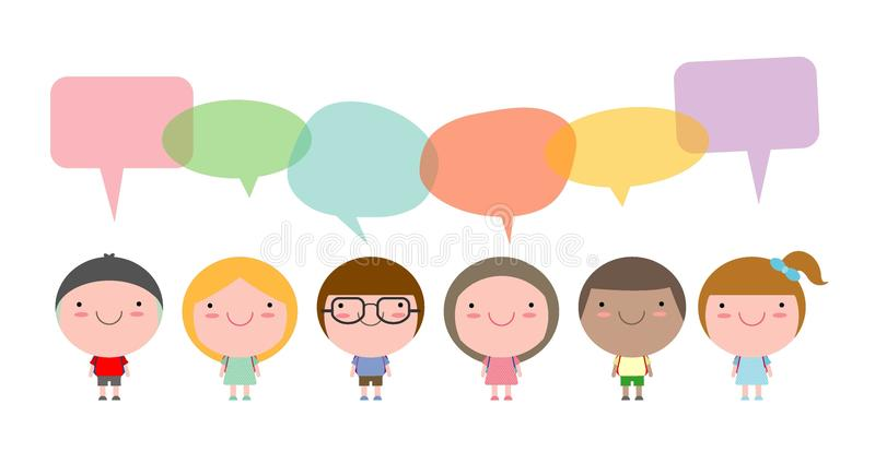 Cute kids with speech bubbles,Set of diverse children and Different nationalities with speech bubbles isolated on white background. Cute kids with speech bubbles stock illustration
