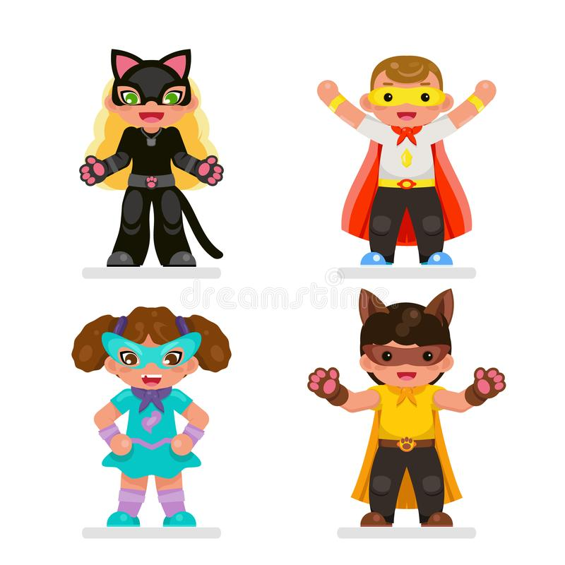 Cute kids super hero teens characters set flat design vector illustration. Cute kids super hero teens set characters flat design vector illustration royalty free illustration