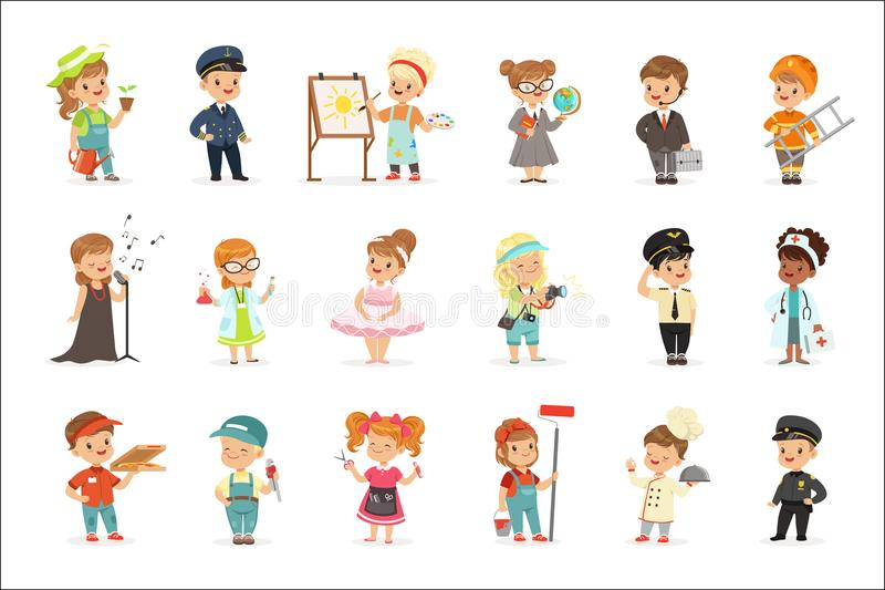 Cute kids in various professions set. Smiling little boys and girls in uniform with professional equipment colorful. Vector illustrations isolated on a light stock illustration