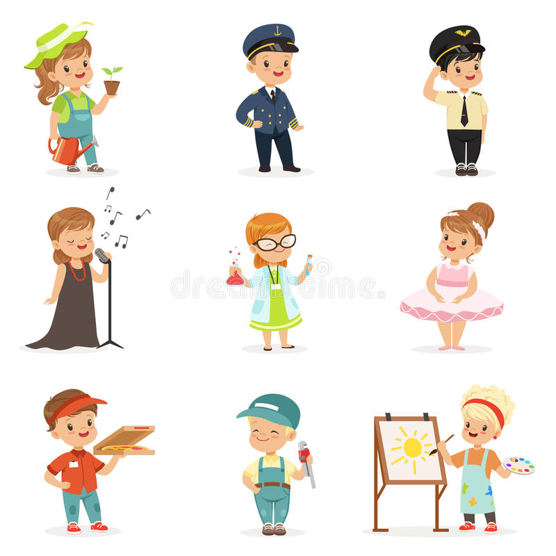 Cute kids in various professions set. Smiling little boys and girls in uniform with professional equipment colorful vector illustration