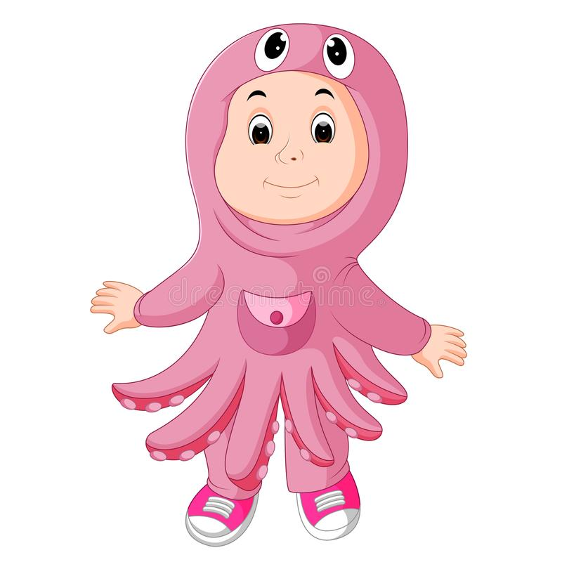 Cute kids wearing animal costumes. Illustration of cute kids wearing animal costumes vector illustration